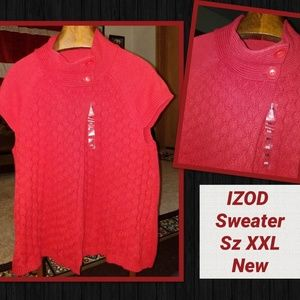 IZOD NEW Swing Cardigan Sweater XXL Red